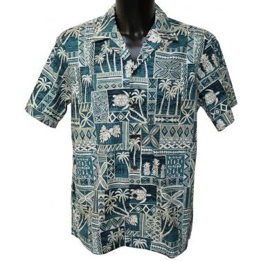 chemise hawaienne bleue