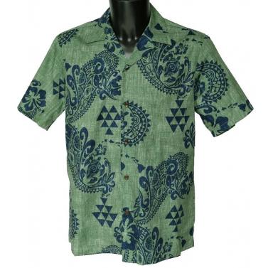 Chemise Hawaienne TRIBAL FLOWERS verte