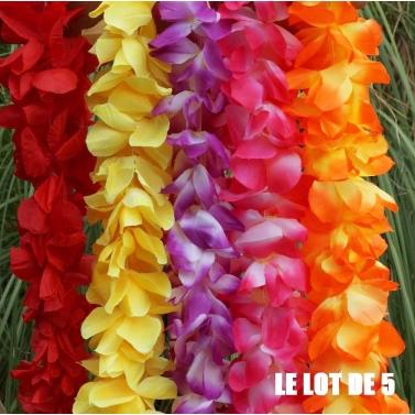 lot de 5 colliers de fleurs multicolores
