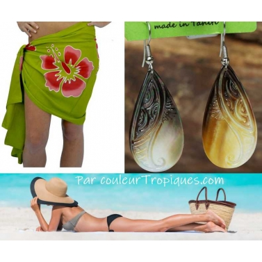 Pack tahitien pareo et boucles d'oreille