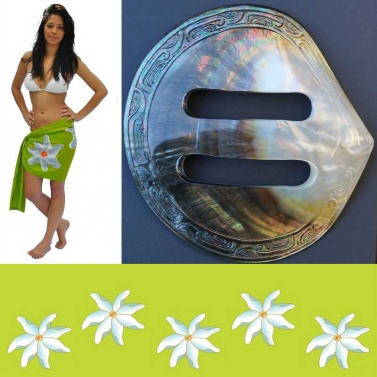 Pareo tahitien et sa boucle en nacre