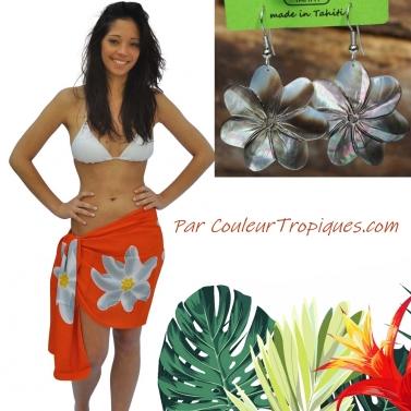 Pareo tahitien et boucle d'oreilles de Tahiti