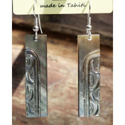 Boucles d'oreilles nacre de Tahiti Baguette N°1