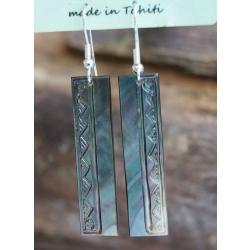 Boucles d'oreilles nacre de Tahiti Baguette N°3