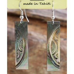 Boucles d'oreilles nacre de Tahiti Baguette N°8