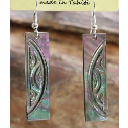 Boucles d'oreilles nacre de Tahiti Baguette N°9