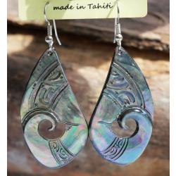 Boucles d'oreilles nacre de Tahiti Coquillage N°1