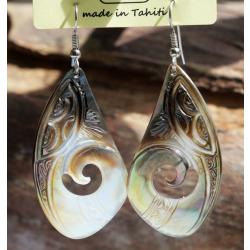 Boucles d'oreilles nacre de Tahiti Coquillage N°2