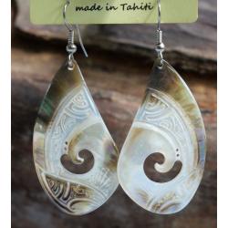Boucles d'oreilles nacre de Tahiti Coquillage N°5