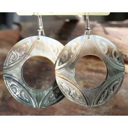 Boucles d'oreilles nacre de Tahiti Disque N°1