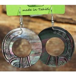 Boucles d'oreilles nacre de Tahiti Disque N°3