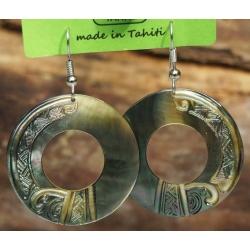 Boucles d'oreilles nacre de Tahiti Disque N°5
