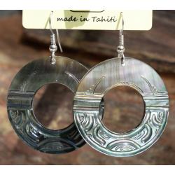 Boucles d'oreilles nacre de Tahiti Disque N°6