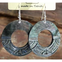 Boucles d'oreilles nacre de Tahiti Disque N°7