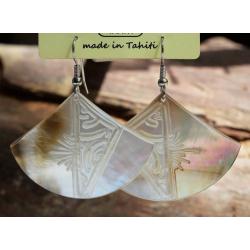 Boucles d'oreilles nacre de Tahiti Eventail N°1