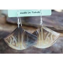 Boucles d'oreilles nacre de Tahiti Eventail N°13
