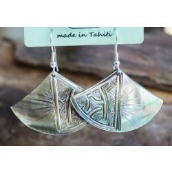Boucles d'oreilles nacre de Tahiti Eventail N°14