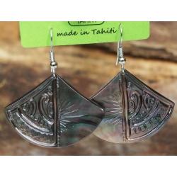 Boucles d'oreilles nacre de Tahiti Eventail N°3