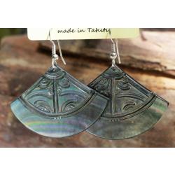 Boucles d'oreilles nacre de Tahiti Eventail N°6