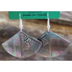 Boucles d'oreilles nacre de Tahiti Eventail N°7