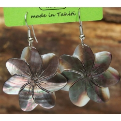 Boucles d'oreilles nacre de Tahiti (fleur) N°7