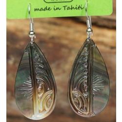 Boucles d'oreilles nacre de Tahiti Gouttes N°1