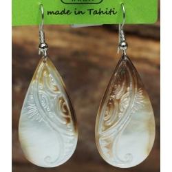 Boucles d'oreilles nacre de Tahiti Gouttes N°10