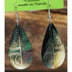 Boucles d'oreilles nacre de Tahiti Gouttes N°2