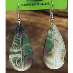 Boucles d'oreilles nacre de Tahiti Gouttes N°4