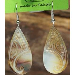 Boucles d'oreilles nacre de Tahiti Gouttes N°5