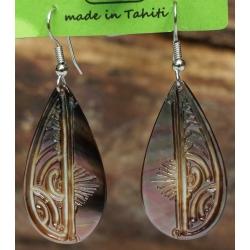 Boucles d'oreilles nacre de Tahiti Gouttes N°8