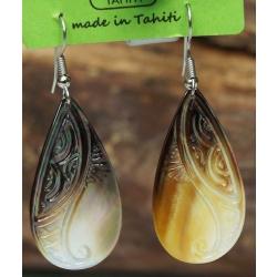 Boucles d'oreilles nacre de Tahiti Gouttes N°9