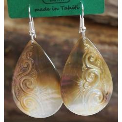 Boucles d'oreilles nacre de Tahiti Maxi Gouttes N°1