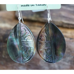 Boucles d'oreilles nacre de Tahiti Maxi Gouttes N°10