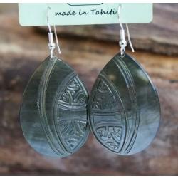 Boucles d'oreilles nacre de Tahiti Maxi Gouttes N°11