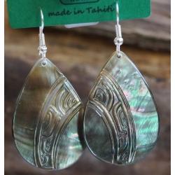 Boucles d'oreilles nacre de Tahiti Maxi Gouttes N°2