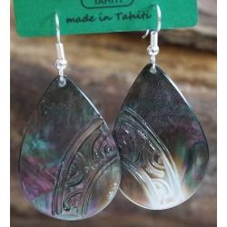 Boucles d'oreilles nacre de Tahiti Maxi Gouttes N°4