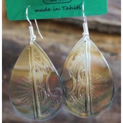 Boucles d'oreilles nacre de Tahiti Maxi Gouttes N°7