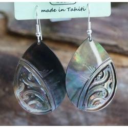 Boucles d'oreilles nacre de Tahiti Maxi Gouttes N°8