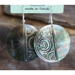 Boucles d'oreilles nacre de Tahiti N° 8