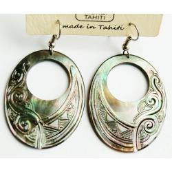 Boucles d'oreilles nacre de Tahiti Ovale N°5