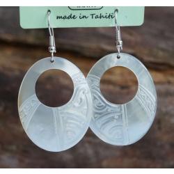 Boucles d'oreilles nacre de Tahiti Ovale perçé N°2