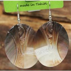 Boucles d'oreilles nacre de Tahiti Ovales N°1