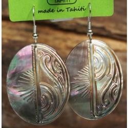 Boucles d'oreilles nacre de Tahiti Ovales N°11
