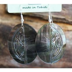 Boucles d'oreilles nacre de Tahiti Ovales N°14