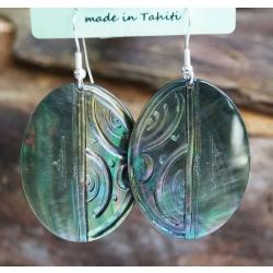 Boucles d'oreilles nacre de Tahiti Ovales N°15