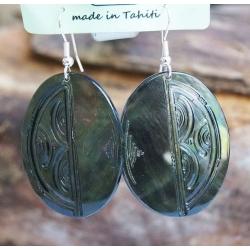 Boucles d'oreilles nacre de Tahiti Ovales N°16