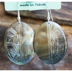 Boucles d'oreilles nacre de Tahiti Ovales N°17
