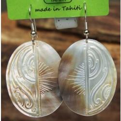 Boucles d'oreilles nacre de Tahiti Ovales N°3