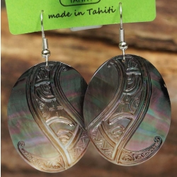 Boucles d'oreilles nacre de Tahiti Ovales N°4